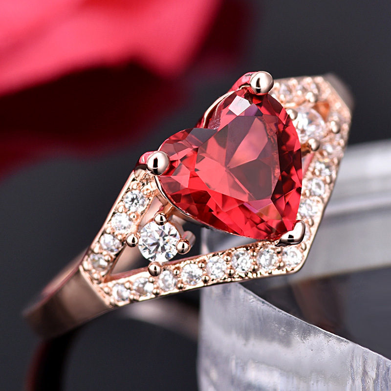 Love Heart-Shaped rRose Red Crystal Zircon ring For Women Gift Drop Shipping Jewelry 4