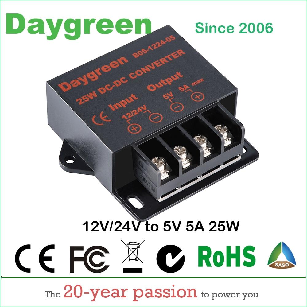 Преобразователь постоянного тока от 12 В до 5 В, 5 А, 25 Вт, 24 В до 5 В, 5 А, регулятор напряжения, автомобильный понижающий редуктор, Daygreen, сертифиц...