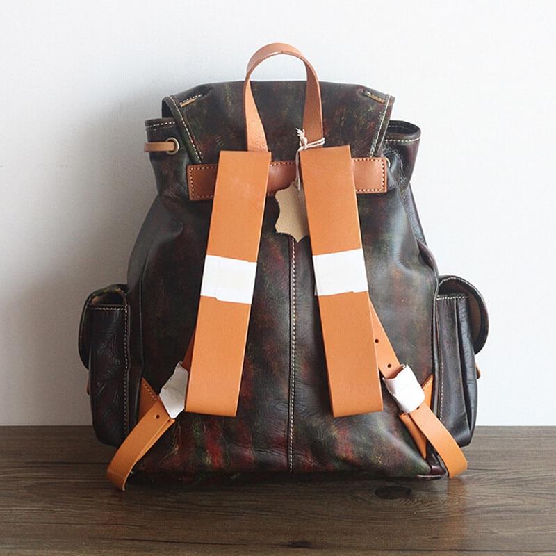 Купить с кэшбэком Unisex 100% Genuine Vegetable Tanned Leather Backpacks Genuine Leather School Backpack Male Fashion Travel Bags Vintage