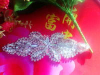 High Quality Handmade Silver Colour Crystal Rhinestones Applique Sequin Applique 20 7cm For Dress Veil DIY