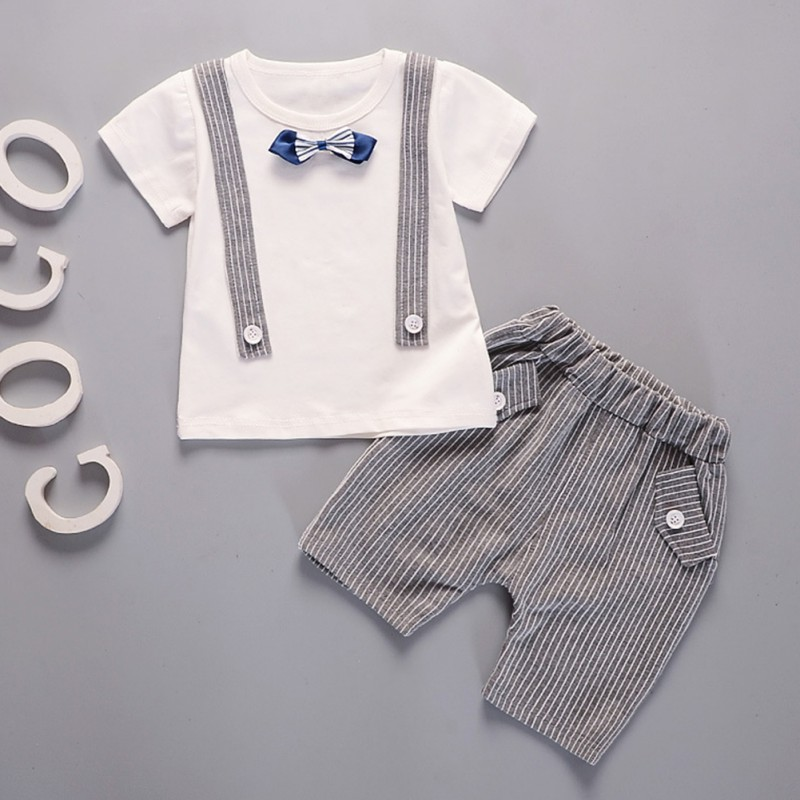 Baby Boys Sets Summer Boys Sets Clothes T shirt+short Pants cotton sports Letter Bow Tie Children Suit