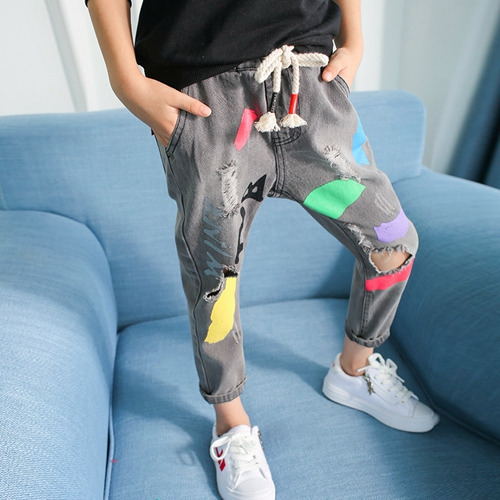 4 5 6 7 8 9 10 11 12 13 Years Teenagers Baby Girls Print Ripped Jeans Autumn Denim Pants Kids Teens Trousers Children Clothing autumn original design men s hole denim jeans teenagers water wash jogger pants top cotton long trousers