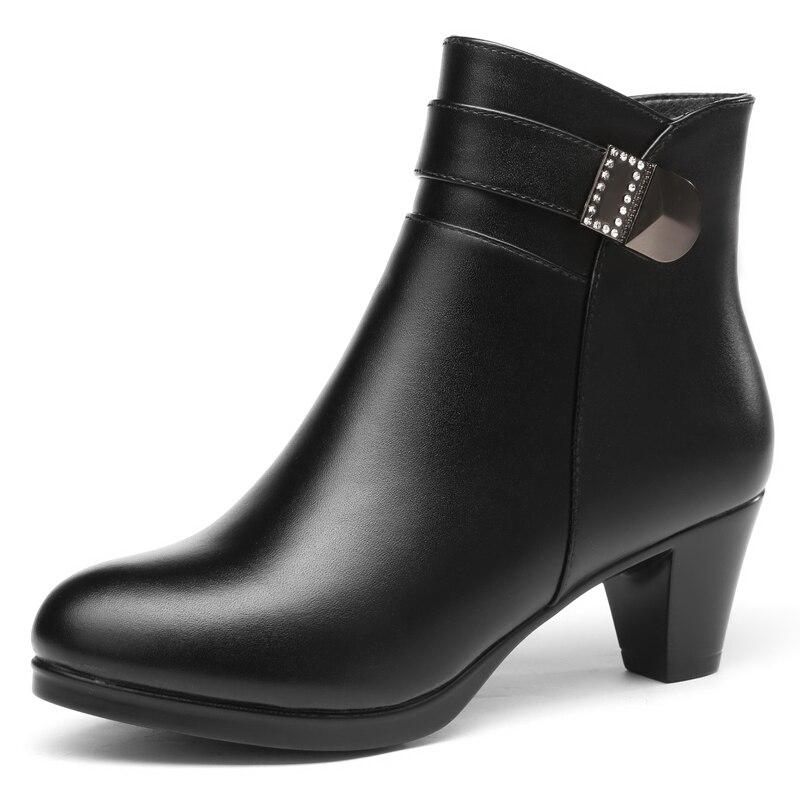 ZXRYXGS marque chaussures en métal strass mode chaussures hiver femmes bottes 2018 nouveau élégant chaud doux en cuir véritable bottes bottes de neige