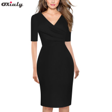 Oxiuly Women Half Sleeve Spring Autumn Work Wear Elegant Stretch Dress Pencil Midi Business Casual Sheath Bodycon Vestidos oxiuly spring autumn women elegant vintage casual half sleeve sheath dress female colorful plaid print bodycon knee length dress