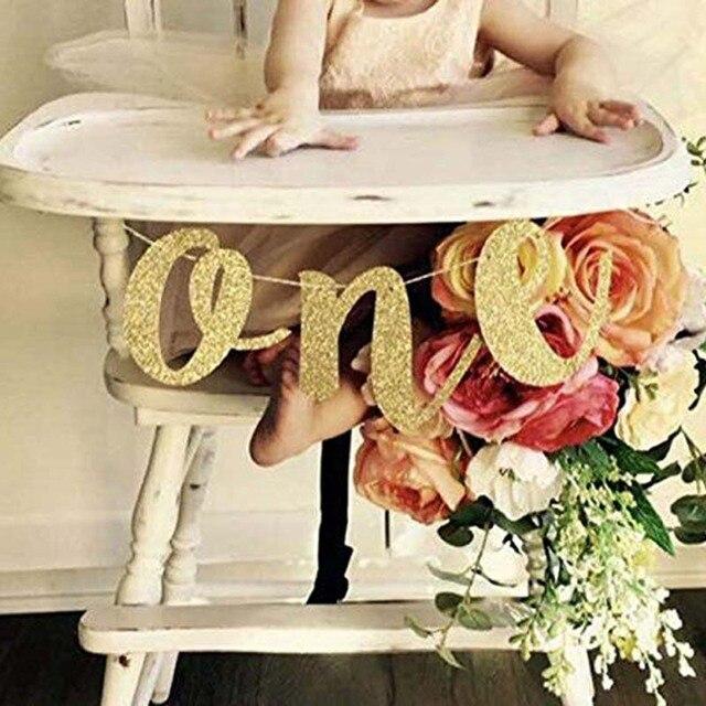 골드 반짝이 프린스 공주에 대한 하나의 배너 아기 소년 소녀 첫 번째 첫 번째 생일 파티 높은 의자 장식 용품 사진 소품