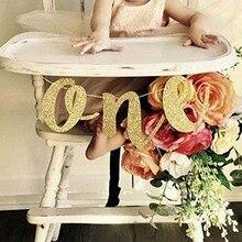 Gold Glitter แบนเนอร์หนึ่งสำหรับ Prince Princess เด็ก 1st first Birthday Party ตกแต่งเก้าอี้สูงอุปกรณ์ photo prop