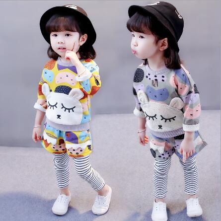 New 2018 Spring Autumn cute cartoon girl clothing set baby casual Long-sleeved shirt + striped pants two-piece suit baby clothes 2018 autumn baby boy clothes baby clothing set fashion cotton long sleeved cartoon t shirt pants newborn baby girl clothing set
