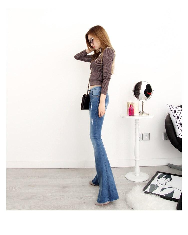 Bas Mi Cloche Pour Denim Taille Flare Femme Casual Trou Jeans Nouveau Beige noir bleu Plus C1983 Automne La Jean Longue Slim Déchiré Femmes 435RLAjq