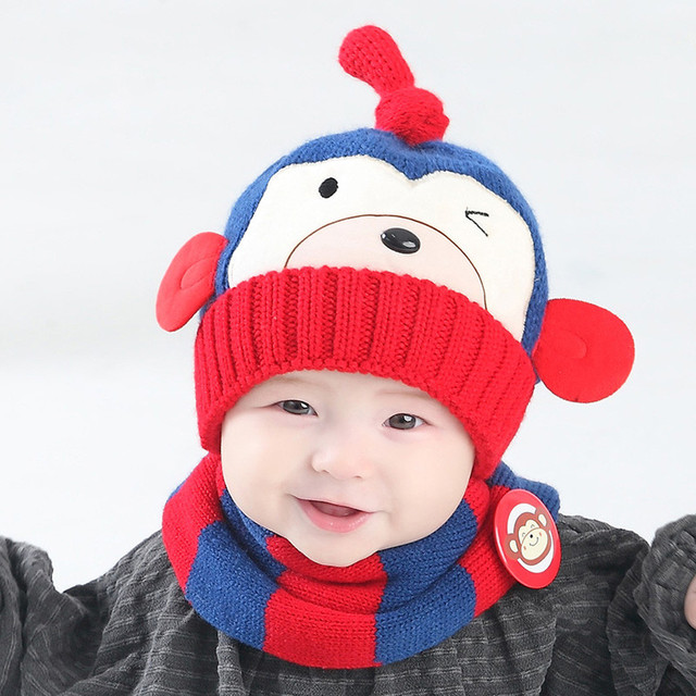 6bee37a5b3b 2pcs set hat and scarf Baby Boys Girls Kids Cartoon Monkey Child Knitting  Warm Hats Cap scarves for boys 15