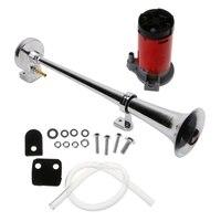 150dB 12V Single Trumpet Car Air Horn Chrome Super Loud with Compressor For Car Truck Truck Train Horn Train