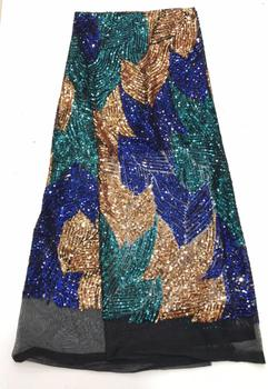 Fashionable SYJ-6136 french net fabric for dress Beautiful sequins lace fabric