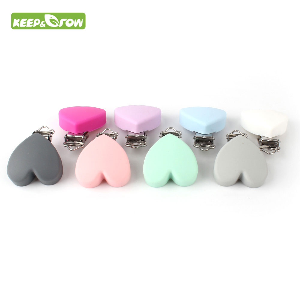 KEEP GROW 60Pcs Heart Love Shaped Pacifier Clip Silicone Baby Teether Holders Clips Non toxic Nipple