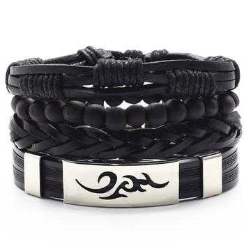Infinity Black Beads Charm Link Alloy Handmade Woven Men Leather Bracelets Women Vintage Bangle Male Jewelry Accessories 2