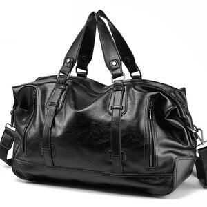 Image 1 - 男性のハンドバッグの革大容量トラベルバッグファッションショルダーバッグ男性トラベルダッフルトートバッグカジュアルメッセンジャークロスボディバッグ