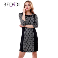 New 2015 Fashion 3 4 Sleeve Dresses Women Work Wear Sexy Formal Slim Dress Plus Size