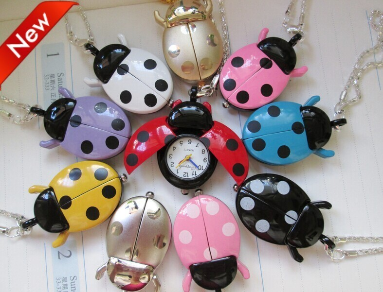 Hot Popular Mixed Bulk 10pcs/lot  Color Ladybug Necklace Pendant Watches Wholesale 50pcs lot mixed color