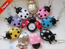 Hot Popular Mixed Bulk 10pcs/lot  Color Ladybug Necklace Pendant Watches Wholesale
