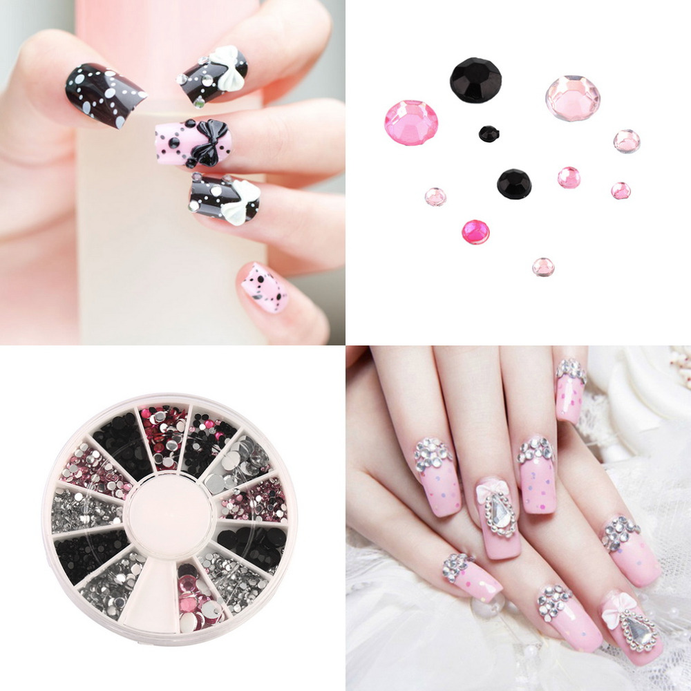 3D nail jewelry Acrylic Nail Art Decoration 4 Sizes Black White Pink Round Wheel Diy Glitter Rhinestones For Nails charm Tools 2015 colorful acrylic nail glitter wheel glitter gold plated nail art jewelry women fingernail decoration supply wy165