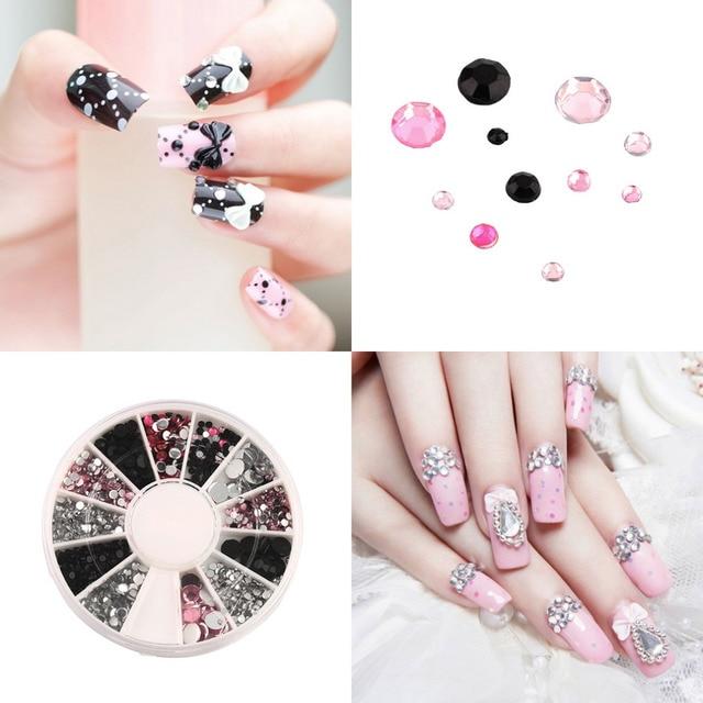 3d Nail Jewelry Acrylic Art Decoration 4 Sizes Black White Pink Round Wheel Diy Glitter