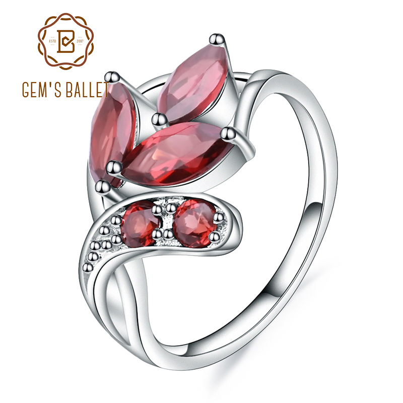 GEM S BALLET 2 38Ct Natural Red Garnet Gemstone Ring Real 925 Sterling Silver Leaf Shape