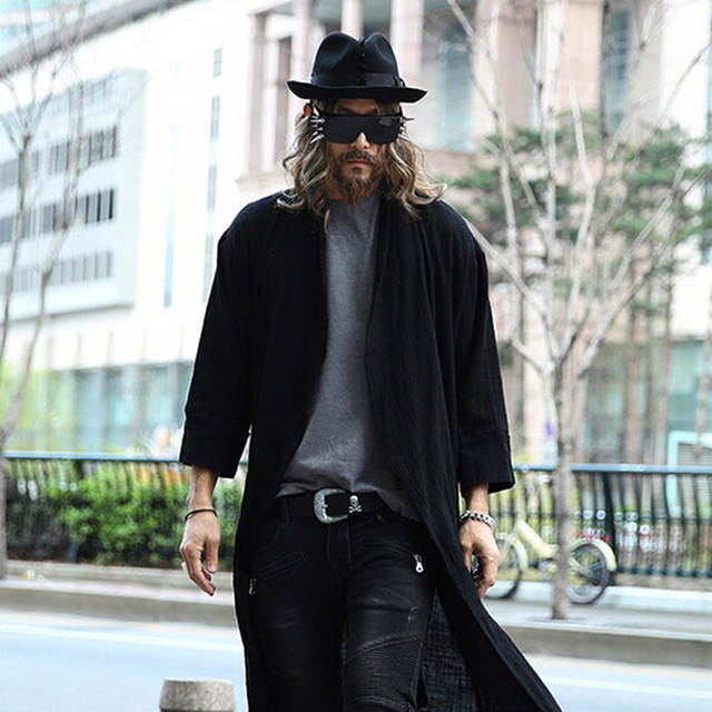 Hot Sale Cool Fashion Mens European Style Trench coats Darkness Rock Style  Men Long Black Trench Coat 96b5336bf65c