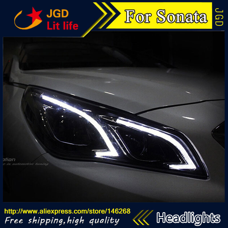 Free shipping ! Car styling LED HID Rio LED headlights Head Lamp case for Hyundai Sonata 2015 2016 Bi-Xenon Lens low beam