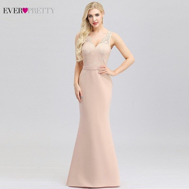 Ever Pretty Pink Lace Evening Dresses Long V-Neck Embroidery Elegant Little Mermaid Dresses EP00978PK Robe Longue Dentelle 2020