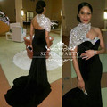 Chic One Shoulder Mermaid Evening Dress Beaded Collar Crystals Long Black Velvet Prom Dresses Gown 2017 African Robe De Soiree