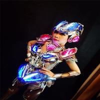 MD09-1 красочные свет костюмы бар модель этап певец шоу носит женские платья led шлем бюстгальтер Косплей DJ одежда световой