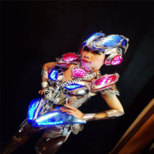 MD09-1 Colorful led light costumes bar model singer stage show wears women dresses LED helmet bra cosplay dj clothes luminous