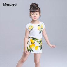 Kimocat летняя одежда для маленьких девочек 2 шт детская футболка