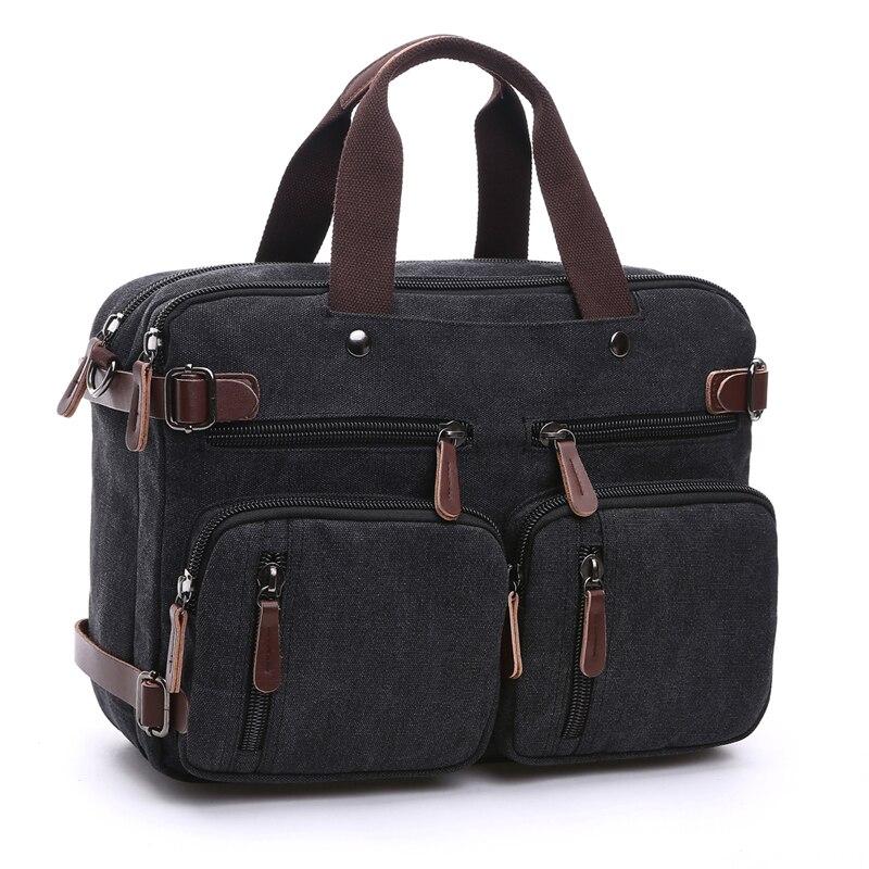 Sac à dos d'affaires pour hommes vintage en cuir toile sac à dos sac d'école sacs de voyage pour hommes sac à dos de voyage pour ordinateur portable grande capacité - 2