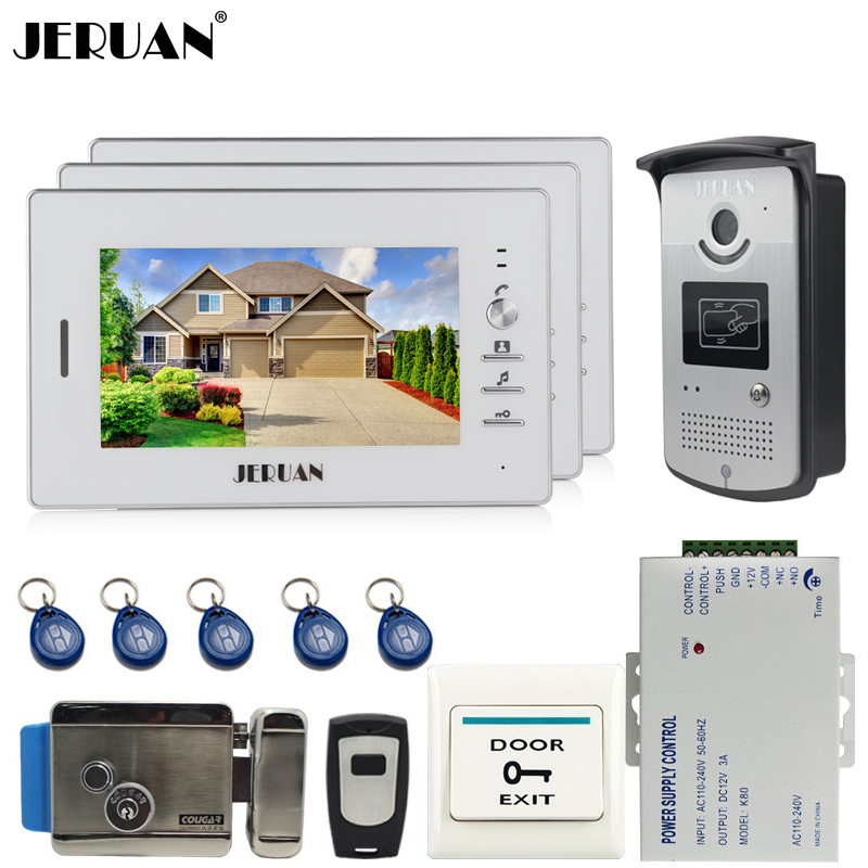 JERUAN Brand New 7`` Color Screen Video DoorPhone Intercom System 3 Monitors +700TVL RFID Access Camera + E-LOCK FREE SHIPPING brand new 7 inch color screen video doorphone sperakerphone intercom system 1 monitor 700tvl coms camera free shipping
