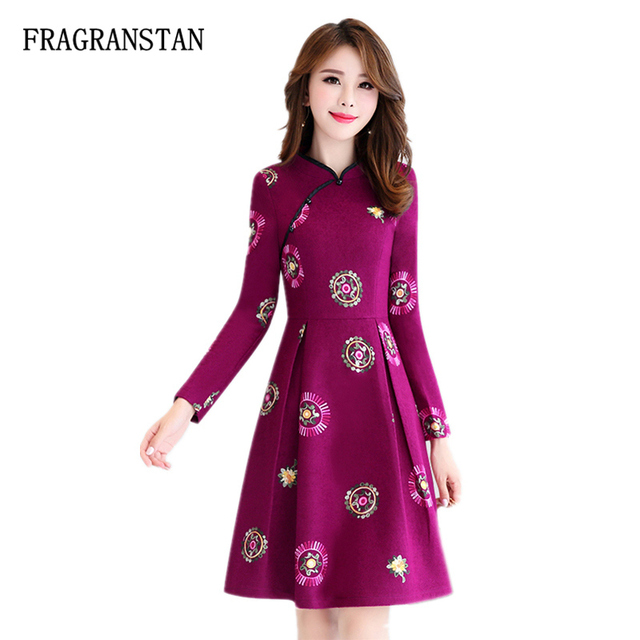 9a501b57c97c Autumn Winter Flowers Embroidery Woolen Thick Warm Dress Female New Vintage  Fashion Chinese Style Elegant Empire Waist Dress JQ5
