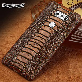 Wangcangli cowhide phone case for LG G7 ostrich foot texture phone case Genuine leather half-pack phone protection case