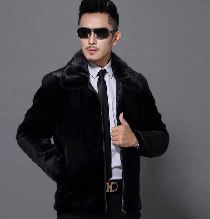 Куница зимнее пальто утепленная теплая кожаная куртка мужская повседневная Прямые мужские короткие дизайн норки волос искусственного пал...