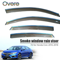 Overe 4Pcs/1Set Smoke Window Rain Visor For Honda Civic 2016 2017 2018 Car styling Vent Sun Deflectors Guard ABS Accessories