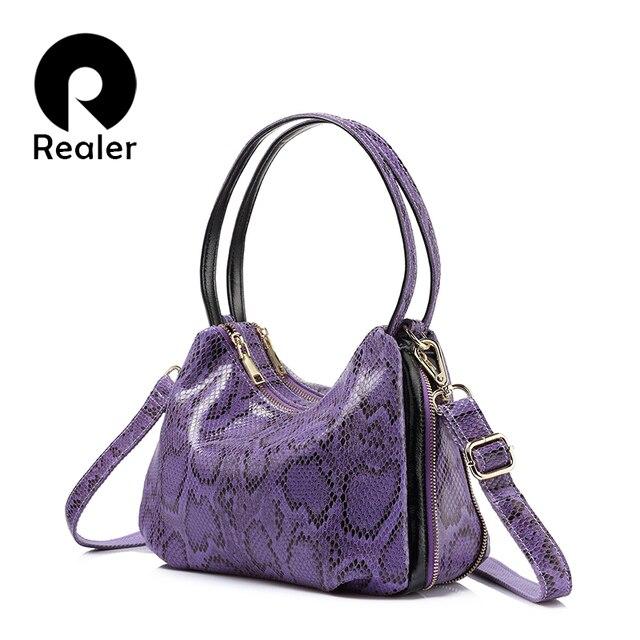 REALER brand new spring arrival women genuine leather handbag fashion ladies shoulder bag double zipper women totes 2017