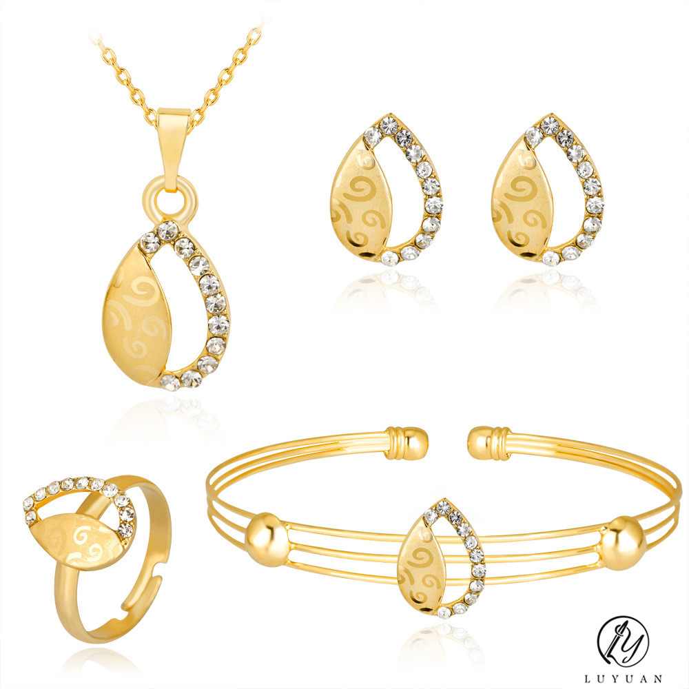 Cute Children Water Drop Pendant Necklace Earrings Sets Charm Gold Color  Crystal Girl Jewelry Sets Lovely