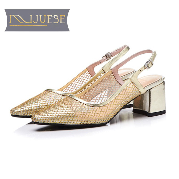 Shoes Generous Mljuese 2018 Women Sandals Cow Leather Air Mesh Breathable Gladiator Pointed Toe Square Heel High Heels Party Shoes Dress
