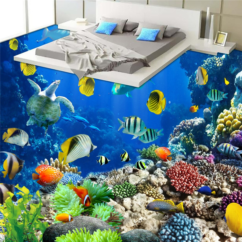 beibehang underwater world Tropical Biology bathroom floor bathroom 3D waterproof self-adhesive wall paper roll sticker painting hot fashion jewelry the greatest dad retro necklace pocket watch vintage men s father birthday gift
