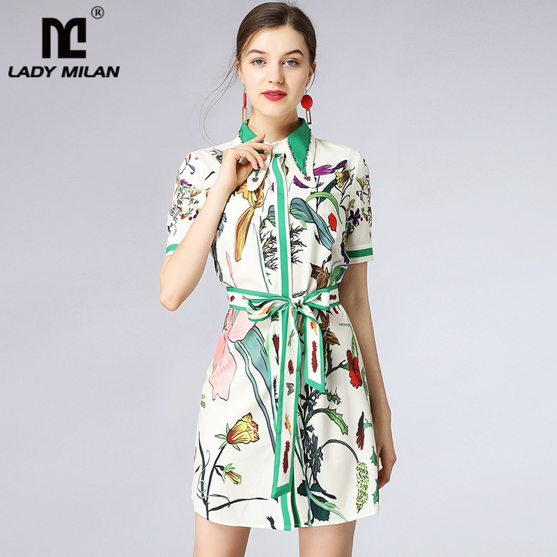 New Arrival 2018 Womens Turn Down Collar Short Sleeves Beaded Sash Belt Printed Casual Dresses Fashion Designer Runway Dresses