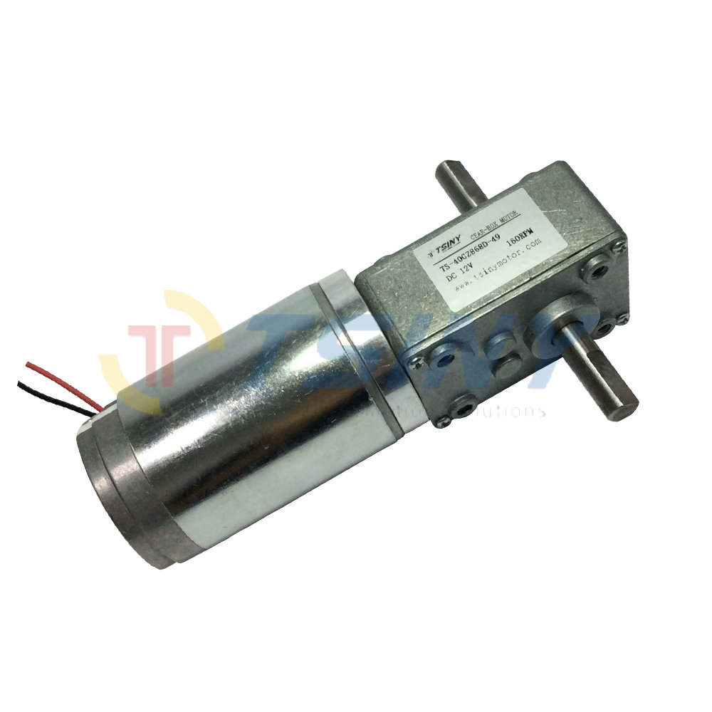 Dc 12v 15rpm High Torque Worm Reducer Geared Motor Double