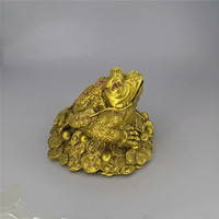 free Shipping>>>10cm NEW Oriental Lucky Wealth Large Brass Feng Shui Money Chinese Coin Frog