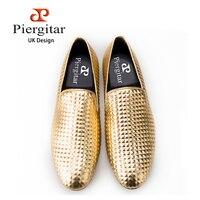 Piergitar British Fashion Style Men Shoe Using Pyramid 3D Technique Design Men Loafer Prom And Banquet