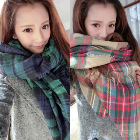 Lady Women Blanket Oversized font b Tartan b font Scarf Shawl Plaid Cozy Checked Pashmina