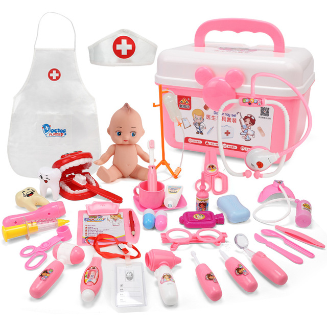 22 pcs/lot kids Doctor Toys Medical kit Cosplay Dentist Nurse Simulation Medicine Box with Doll Costume Stethoscope Gift