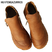 HUIFENGAZURRCS-The real leather boots with art retro soft bottom shoes,pure handmade short boots and ankle boots round boots huifengazurrcs vintage leather boots super soft bottom arts and crafts hand made original women s shoes short ankle boots