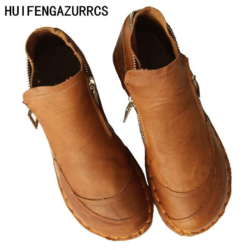 HUIFENGAZURRCS-bottes en cuir véritable avec art rétro chaussures à fond mou, pur à la main courte bottes et bottines rond bottes