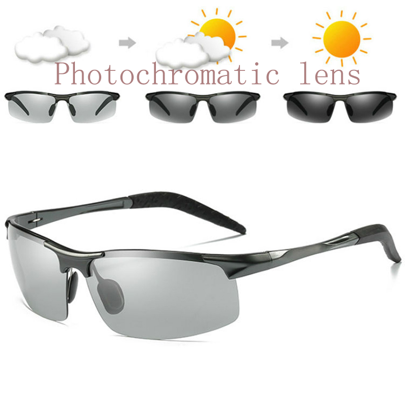 Aluminium Magnesium Polarized Photochromic Sunglasses Mens Outdoor Sports Cycling Bike Sunglasses Transition Driving Sunglasses